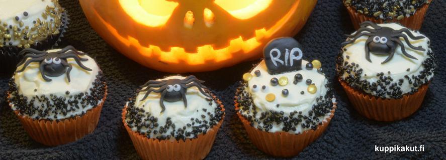 hämähäkkikoristeet, halloween kuppikakut